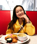 Yellow hoodie in a diner