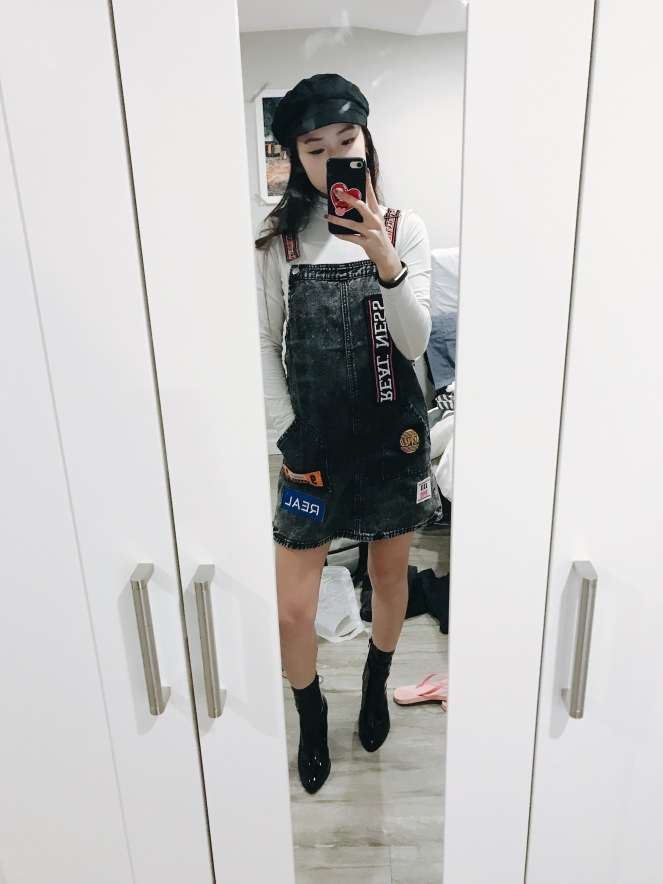 Outfit made with my new purchases with racer overalls,